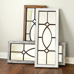 Ballard Designs - Garden District Mirror - Crafted of Resin with 8-step finish process on inner frame. Hang vertically or horizontally. Our timeless Garden District Mirror was inspired by a beveled glass window we admired in the garden district of New Orleans. Use it to create a window of reflected light or a dramatic focal point above the mantle or bed. The wood grain textured frame is crafted of resin and finished by applying layers of paint in a meticulous 8-step process.Garden District Mirror features: . .
