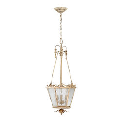 "Kathy Kuo Home - Maison French Country Antique White 3 Light Entry Chandelier - The Maison Chandelier brings the French countryside to every room.  Constructed from wrought iron finished in a proprietary ""Persian White"" finish add antiqued elegance to this three light entry way chandelier.  Sophistication meets country classic at its best."