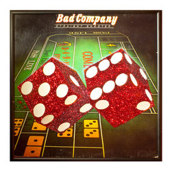 """Glittered Bad Company Record Album - Glittered record album. Album is framed in a black 12x12"""" square frame with front and back cover and clips holding the record in place on the back. Album covers are original vintage covers."""