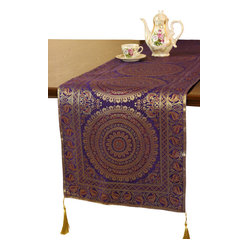 Banarsi Designs - Exotic Oriental Table Runner - A table fit for an emperor. You may not be hosting royalty, but this exotic oriental table runner will make it look like you are. The exquisitely designed piece — available in six colors — will transform your table into a true regal setting.