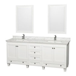 Wyndham Collection Acclaim 80-in. Double Bathroom Vanity Set - White - With its blend of classic and contemporary design plus ample storage, the Wyndham Collection Acclaim 80-in. Double Bathroom Vanity Set - White is perfect for your family. This bathroom vanity set is made of solid oak in a crisp white finish and comes with two integral sinks in your choice of countertop material plus two matching framed mirrors. Two cupboard sets on either side of the vanity, each with shelving behind, a wide drawer beneath each cupboard set, and four central drawers offer enough storage of organize the whole family. Counters are pre-drilled for single-hole faucets and faucets are not included.About the Wyndham CollectionWyndham and the Wyndham collection are all about refinement, detailing, uniqueness, quality, and longevity. They are dedicated to the quality of their products and own the factory where each piece is constructed. This allows Wyndham to offer products that reflect the rigorous quality standards required for every piece that is offered to their customers. The Wyndham collection showcases elegant, modern design styles that highlight functionality and style in every detail.