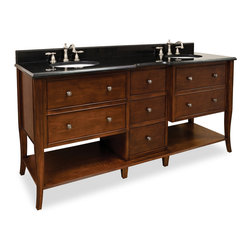 Hardware Resources - Hardware Resources VAN081D-72, Black Granite Top - This 72 in  solid wood, double vanity has a rich chocolate brown finish to give this vanity a refined feel. The cabriole legs with rolled edge details and a center drawer bank add a more masculine look to this vanity. With five working drawers, left and right side drawers fitted around the plumbing, and open bottom shelves flanking the center drawer bank, this vanity features ample storage space. All drawers are solid wood, dovetailed drawers fitted with soft close full extension slides. This vanity has a 2.5 cm black granite top preassembled with two H8809WH (15 in  x 12 in ) bowls, cut for 8 in  faucet spreads, and corresponding 2 cm x 4 in  tall backsplash. Overall Measurements: 72 in  x 22 in  x 36 in  (measurements taken from the widest point)