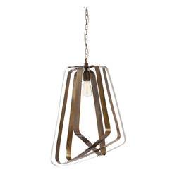 Arteriors - Adele Pendant - You should graduate style valedictorian with this pendant in your space. It features gorgeous, sculptural antique brass bands in an asymmetrical shape and graduating sizes. At 25 by 19 inches, it's an elegant, striking addition to any room.
