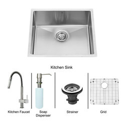 Vigo Industries - Kitchen Sink and Faucet Set - Includes 23 in. under mount sink, faucet, soap dispenser, matching bottom grid, sink strainer, all mounting hardware and hot-cold waterlines.