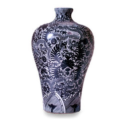 Dragon Meiping Vase - Black & White - Place it where you will, the striking coloration and detailed floral motif of the Dragon Meiping Vase - Black & White is certain to entice the eye in the same manner that a rare and treasured artwork would. Fashioned from fine porcelain, the vase is generously scaled, allowing the piece to dramatically enhance an occasional table, sideboard, or glass-fronted china cabinet.