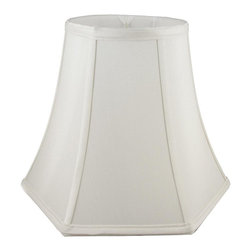 American Heritage Shades - Fabric Lampshade in Cream w Trim (18 in. Diam x 13.75 in. H) - Choose Size: 18 in. Diam x 13.75 in. HLampshade Types. Shantung faux silk with off-white fabric liner. Hand made. Matching top, bottom and vertical trim. Round top and hexagon bell bottom. Fitter type: 1 in. drop and washer for harp fitter. Enhances lamp and room decor. Made from polyester. Fitter in brass color. Made in USA. No assembly required
