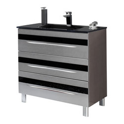 "Macral - 32"" Giocco Bathroom Vanity. Silver-Black handles - With this shiny silver and black modern vanity, your bathroom will be one room you won't want to gloss over. Show off your state-of-the-art sensibilities with this impressively stylish vanity."