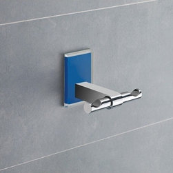 Gedy - Blue Mounting Polished Chrome Double Hook - Decorative double robe or towel hook made of brass with blue mounting made of thermoplastic resins. Double hook made of chromed brass. Blue mounting made of thermoplastic resins. From the Gedy Maine collection.
