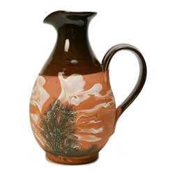 R.Irving Little, Camelot Pottery on base - Consigned Red Pottery Oil or Water Mocha Jug with Marbled Decor - A very attractive rustic red pottery jug with brown glazed top and inside, the body decorated in mocha style with marbled slip by R.Irving Little Camelot, vintage English. Ideal to use in your kitchen or to server at a fancy dinner party.This is a vintage One of a Kind item. Some wear and imperfections are to be expected, as described.