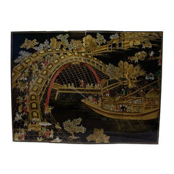 "n/a - 48"" Wide Hand Painted River Town Oriental Wall Panels - This 48 inch wide, 36 inches high, Oriental wall plaque is full of value with its raised golden lacquers on a antique black background that will add Asian ambiance to any room. The famous Ching Ming festival is depicted in this water scape. A thriving Chinese harbor with rich details is skillfully painted on these light wooden lacquer panels. This set of four Oriental wall panels come with brass hangars for easy hanging. They measure 12 inch x 36 inches high by 4 Panels, Full width is 48 inch. Use above a cabinet, over a couch even as a headboard. Purchase now, supplies are limited on quality handmade imports at this current price."