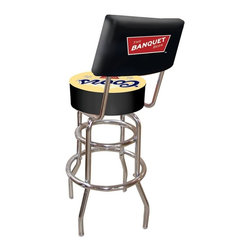 Trademark Global - Padded Bar Stool w Backrest & Coors Banquet L - Adjustable levelers. Backrest for added comfort . Long lasting officially licensed Coors Banquet logo . Great for gifts and recreation decor. 7.50 in. High padded seat. 30 in. High bar stool great for bar pub table and bars (40 in. tall with backrest). Commercial grade vinyl seat. Chrome plated double rung base. 14.75 in. W x 14.75 in. D x 40 in. H (24 lbs.)This Coors Banquet Bar Stool with backrest will be the highlight of your bar and game room.