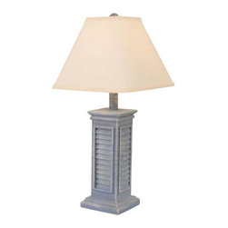 Small Square Shutter Lamp in Blush Colors, Atlantic Grey - The perfect complement for your beach decor or to accent your nautical decor, you'll love this Small Square Shutter Lamp from our Casual Coastal Living collection of beach house inspired table lamps. Chose from our selection of 14 Blush colors to make this lamp perfect for your own nautical, tropical or beach decor color scheme.