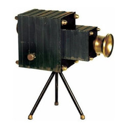 Sterling Lighting - Portrait Camera Black & Antiqued Bronze Finish - Vintage movie reel camera use as decorative accessory. Looks great as a home decor. Metal accents. Unique gift idea. Black, Antiqued and Bronze finish. 11.75 in. L x 6.75 in. W x 12.25 in. H (2 lbs.)Sterling Industries specializes in bringing creativity and imagination to decorative home accessories. Sterling's strong design innovation and quality manufacturing ensure products that are stylish and in demand.
