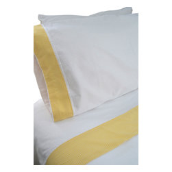"""100% Egyptian Cotton Sheet Set  - White w/ Yellow Trim, King - 100% Egyptian Cotton 410 thread count customized sheet sets that coordinate with our Tuck Me In Good Night Bedding Retainment System. Our oversized flat sheets offer an additional 10"""" in length to provide for full coverage and comfort. They also include a special sewn sleeve/slot to receive the Tuck Me In retainment rod. Your sheets will never get untucked again  - we guarantee it or your money back!"""