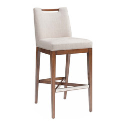 Kathy Kuo Home - Julian Modern Classics Flax Faux Linen Counter Stool - Beautiful birch, harvested by environmentally responsible means, is finished in warm wood tones. Elegantly curved, the long legs are adorned with a nickel kick plate as a comfortable footrest. Sumptuous light ivory upholstery on the straight back seat completes this classic counter stool.