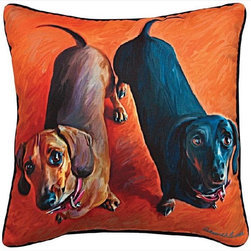 """Manual - Pair of """"Double Dachsies"""" Dachshund Dog Print Throw Pillows 18 Inch - This pair of 18 inch by 18 inch printed fabric throw pillows adds a wonderful accent to the home of any dog lover. The pillows feature a Dachshund dog print called """"Double Dachsies"""" by artist Robert McClintock on the front, and the back is solid black. They have 100% polyester stuffing. These pillows are crafted with pride in the Blue Ridge Mountains of North Carolina, and add a quality accent to your home."""