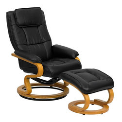 "Flash Furniture - Black Leather Recliner and Ottoman with Swiveling Maple Wood Base - There's no better way to enjoy a movie, a book or just some down time than in a recliner. This set features a built-in pillowtop headrest, thickly padded arms and tastefully exposed wood frames. This uniquely designed recliner features a ball-bearing swiveling base that makes swiveling effortless. This set is not only perfect in the home, but makes for a great addition in the office. The durable leather upholstery allows for easy cleaning and regular care.; Recliner and Ottoman Set; Made of Eco-Friendly Materials; Comfortably Padded Chair and Ottoman; Integrated Headrest; Integrated Headrest; Knob Adjusting Recliner; Ball-Bearing Swiveling Base on Recliner; Maple Wood Base with Floor Glides; Black LeatherSoft Upholstery; LeatherSoft is leather and polyurethane for added Softness and Durability; CA117 Fire Retardant Foam; Ottoman Size: 19.5""W x 20""D x 16""H; Weight: 56 lbs; Overall Dimensions: 29.5""W x 34"" - 41""D x 41""H"