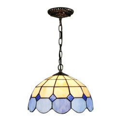 """12"""" Iron Base Meditteranean Style Blue White Stained Glass Tiffany Ceiling Penda - 12"""" Iron Base Meditteranean Style Blue White Stained Glass Tiffany Ceiling Pendant Lights"""