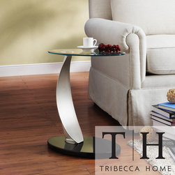 Tribecca Home - TRIBECCA HOME Ryde Oval Tempered Glass Steel Modern End Table - This glass-top oval end table incorporates the best of practical functionality with modern design and adds modern flair to the room. The high sheen, black MDF base attaches to a stainless steel leg and fits with most armchairs, sofas, or sectionals.