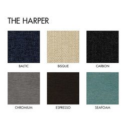 Apt2B - Harper 2Pc Sectional Pecan Wood Base Request A Sample Of Fabric Swatches - If there were ever a sexy sofa it would be this one. Classic lines that will never go out of style and a solid wood base completes this sleek modern look.