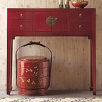 Red Lacquer Console Table - Bring a touch of the Orient to your home with this sleek, compact console table.  Traditional all-wood Chinese joinery gives it a sleek appearance.  Four drawers and a two door cabinet off storage as needed.