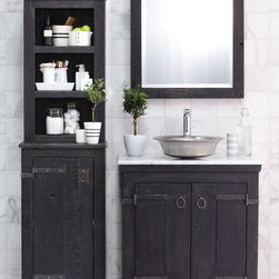 """Americana Vanity, Cabinet, and Hutch by Native Trails - Handcrafted by American artisans from reclaimed wood, the Americana Collection has a character as rich as its history. Its beautifully textured wood, rescued from structures of the past, has stood the test of time. These strong heirloom pieces lend soulful presence and are complemented with hand forged iron hardware. This 30"""" Americana Collection Vanity showcases a Native Trails Maestro Bajo copper sink in brushed nickel."""