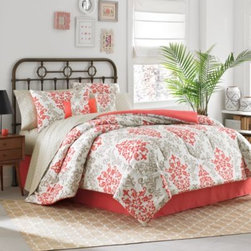 Keeco, Llc - Carina 6-8 Piece Complete Comforter Set in Coral - Create an inviting bedroom oasis with the Carina comforter set. It features a fresh take on floral patterns with a warm, summery coral that pops against coordinating taupe and white hues. Set includes comforter, sham(s), bed skirt, and sheet set.