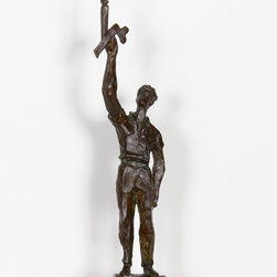 Chaim Gross, Man holding Candle, Bronze Sculpture - Artist:  Chaim Gross, Austrian (1904 - 1991)