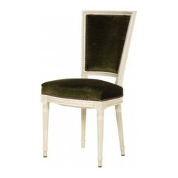 Antique Louis XV Dining Chair - This antique Louis XV dining chair in emerald velvet and brass nailhead would work well with large or small tables. It's perfection in my book.
