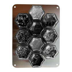 """Gneiss Spice - Stainless Wall Plate for Magnetic Spice Jars. , 6"""" X 8"""" - Non-magnetic fridge? Or, want spices on your backsplash or cabinet?"""
