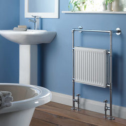 Hudson Reed - Hydronic Heated Towel Warmer 37 x 26.8 Chrome Radiator Rail Heater - Quality brass tubing incorporating a flat panel radiator. Ideal for use in the bathroom kitchen cloakrooms etc.  Max Height: 37inch Max Width: 26.8inch Max Projection from wall: 5.7inch Heat Output 2068 BTU's, 606 watts Tube Diameter: 1 inch  Hydronic towel rails are designed to be connected to a re-circulating hot water system. Please Note: Our radiators are designed for forced circulation closed loop systems only. They are not compatible with open loop, gravity hot water or steam systems.