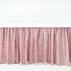 Pine Cone Hill Esha Damask Pink Bed Skirt - This fun and unique bed skirt in a petite print is great for adding a splash of color. Prints are especially nice if you're working with carpet; they really help separate the two.