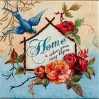 "Tile Art Gallery - Home - Inspirational Ceramic Accent Tile - This is a beautiful sublimation printed ceramic tile entitled ""Home"" by artist Janet Tava. The inscription reads: ""Home is where your story begins."""