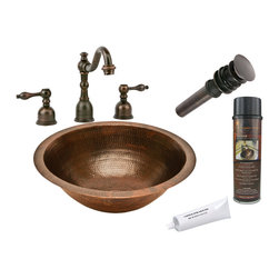 Premier Copper Products - Round Under Counter Copper Sink w/ ORB Faucet - PACKAGE INCLUDES: