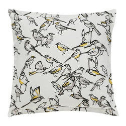 DwellStudio - Aviary Euro Sham Pair by DwellStudio - An airy avian accent for bird lovers' bedrooms. The DwellStudio Aviary Euro Sham Pair features a bright, cheerful array of songbirds--black and grey, most with vibrant Citrine markings. This set of two shams will complement the Aviary Duvet Cover or add finely feathered elegance to any DwellStudio bedding set. DwellStudio, founded in 1999 by Christiane Lemieux, specializes in home furnishings steeped in modern design. With a unique sense of color and a strong commitment to quality and innovation, DwellStudio continues to create its own distinctive interpretation of modern home furnishings. In the same creative spirit, the company encourages their customers to experiment with mixing various DwellStudio textile lines together.