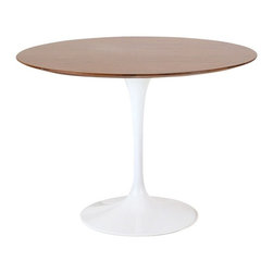 """Fine Mod Imports Flower Table Wood Top 48"""", Walnut - The Flower table has a wood top, Its base is a heavy molded cast aluminum, while the shell is in reinforced molded fiberglass base."""