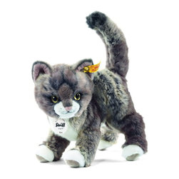 Steiff - Steiff Plush Kitty Cat - Steiff Kitty Cat EAN 099335 is made of cuddly soft grey and beige woven plush. Ages 3 and up. Machine washable. Handcrafted by Steiff of Germany.