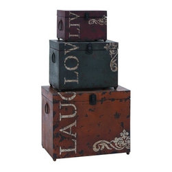 Benzara - Classic Live Love Laugh Iron Storage Trunk Set - Classic Live Love Laugh Iron Storage Trunk Set