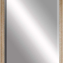 Paragon Decor - Beveled Mirror, Gold Shagreen, 36x48 - Mirror, Mirror, on the wall, who's the most beautiful mirror of them all? Reflect your impeccable taste with this contemporary-style mirror, which features a gorgeous gold shagreen frame and high-quality interior beveled mirror. This piece measures 41 inches wide, 2 inches deep, and 53 inches high.