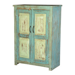 Sierra Living Concepts - Julian Blue/Green Reclaimed Wood Storage Cabinet - Everybody needs extra storage space and we make it easy with this traditional country farmhouse freestanding cabinet. This handmade Julian 2 door cabinet has an authentic look and feel because it is built with reclaimed wood from Gujarat. The surfaces of old wood are slowly seasoned and perfected over time, no modern paints or stains are added.