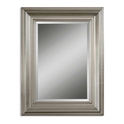 """Silver Leaf Mario Beveled Mirror - *This solid wood frame features a silver leaf finish. Mirror has a generous 1 1/4"""" bevel."""