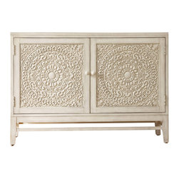 Hooker Furniture - Melange Matisette Chest - The intricate, lacy carved front of the Matisette Chest makes it a dramatic addition for room styles from classic to modern to Asian.  One adjustable shelf behind two doors.  Ventilated back panel.