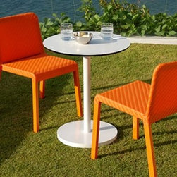 Lebello - Lebello | Solid Bistro Tables - Design by Lebello. Solid Bistro is a versatile and durable outdoor dining table. The frame of the Solid Bistro is powder coated aluminum for optimum weather proofing, and with a 20 lb cast-alloy disc base, the table is sturdy and prevents tipping. The Solid Bistro is available in two heights (bistro and counter) with a round or square top in white or grey laminate. Available in seven bright colors for the base.