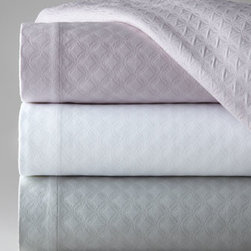 """SFERRA - SFERRA Full/Queen Matelasse Coverlet, 96"""" x 100"""" - Moorish-inspired geometric embroidery sets these bed linens apart. Made in Italy unless otherwise noted. From Sferra. In white with contrasting cuff and embroidery, """"Sonno"""" linens are made of 406-thread-count Egyptian cotton percale. Solid-color mate..."""