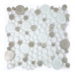 "Loft Ice Cave Circles Glass & Metal Tiles - Loft Ice Cave Circles Glass Tile This striking circle blend of glass and stainless steel creates a sleek and attractive design for any room. Add a pop to any room with these beautiful tiles that are versatile; great to use for a back splash, kitchen, bathroom or any decorated room installation. Chip Size: Random Circles Color: Super White and Stainless Material: Glass and Stainless Steel Finish: Polished and Brushed Sold by the Sheet - each sheet measures 12"" x 12"" (1 sq. ft.) Thickness: 8mm Please note each lot will vary from the next."