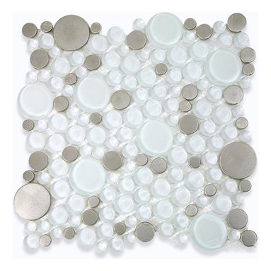 """Loft Ice Cave Circles Glass & Metal Tiles - Loft Ice Cave Circles Glass Tile This striking circle blend of glass and stainless steel creates a sleek and attractive design for any room. Add a pop to any room with these beautiful tiles that are versatile; great to use for a back splash, kitchen, bathroom or any decorated room installation. Chip Size: Random Circles Color: Super White and Stainless Material: Glass and Stainless Steel Finish: Polished and Brushed Sold by the Sheet - each sheet measures 12"""" x 12"""" (1 sq. ft.) Thickness: 8mm Please note each lot will vary from the next."""