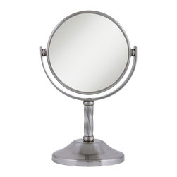 Lamps Plus - Satin Nickel Swivel 3X Magnification Makeup Mirror - Perfect for shaving or makeup application, this magnified mirror features a satin nickel finish. Atop a non-slip base this contemporary design features a fully swivable mirror. The satin nickel finish is found on the base and throughout the frame. Dual-sided mirror offers 1x and 3x magnification.