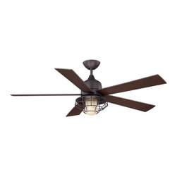 "Savoy House - Savoy House 52-624-5CN-13 Hyannis 52"" Damp Location Ceiling Fan - 52"" Hyannis outdoor fan in the english bronze finish with cream Indian Scavo glass and chestnut blades."