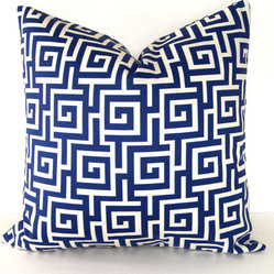 Greek Key Indoor And Outdoor Pillow Cover, Blue And Ivory By Loubella1
