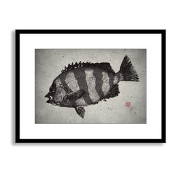 Gallery Direct - Dwight Hwang's 'Striped Knifejaw' Framed Paper Art, 40x29 - A nod to the traditional Japanese art of gyotaku, meant as a way to record a proud catch for fishermen, this print captures delicate detail of the actual fish. This striking print comes framed and matted with a three inch white mat. The perfect way to add character, depth and value to your room, it is printed using the highest quality materials. Arrives ready to hang.
